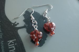 Red Heart Bead Earings by thepapercraftcouple