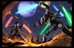 Starkiller vs Grievous colored 2 by kelbykross