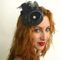 Black Flower Fascinator by tracyholcomb