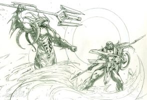 Posedion vs Horus (pencils) by emmshin