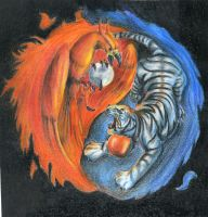 Tiger and Phoenix Yin Yang by 13SweetYuna13