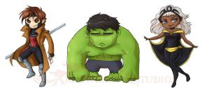 Gambit Hulk Storm Stickers by ladyarrowsmith