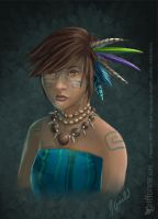 Tribal Girl Doodle by joanniegoulet