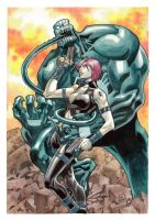 Ultimate Black Widow Vs Venom_Water Color by pipin