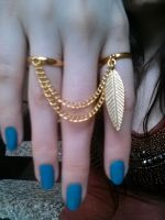 Gold Double Chain Ring // Gold or Silver // Elf by QueenofJackals
