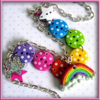 Rainbow Button Necklace by wickedland