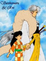 Sesshomaru and Rin - colored by Kyuubi-DemonFox