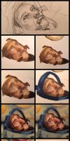 Oil painting process of Chris Hadfield by Lilaccu