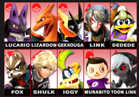 My Smash Bros Roster Lineup by Fire-Bloodrage-Jade