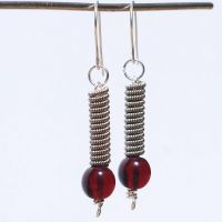 Guitar String Jewelry Red and Silver Earrings by Tanith-Rohe