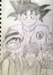 Son Goku and His Students Luffy, Ichigo, Naruto by BigJaa