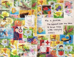 Art Journal - Stamp covered mail to Harry Potter by isnani