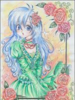 Blue haired girl by Rhireri