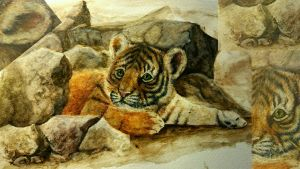 watercolor practise - tiger cub by Happylil