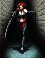 Bloodrayne scratching the wall by EvilGringo