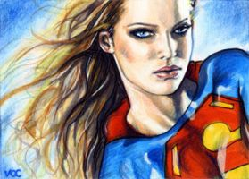 Supergirl Sketch Card by veripwolf