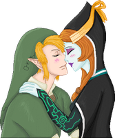 .:Art-Trade:. Link x Midna by Metroid-Tamer