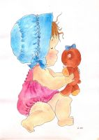 Little Girl with Teddy Bear by Cassiopeeh