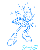Hyper Sonic :SKETCH: by SassCannon
