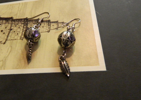 Feather Ball Earrings by laughingdaredevil