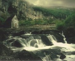 church near a waterfall by LaMusaTriste