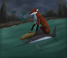 Fox and Leviathan by GreyeWolf