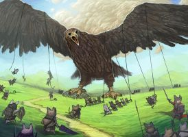Hamster army vs. Eagle by DanilLovesFood
