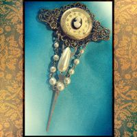 Steampunk Cameo Brooch Pendant by asunder