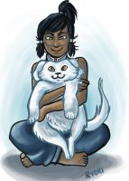 Korra and Puppy Naga by AngelicRoyalty