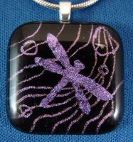 Dragonfly On Water Fused Glass by FusedElegance
