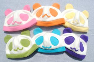 Pastel Rainbow Panda Hats by pookat