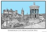 Edinburgh City from Calton Hill by AHamiltonSketches