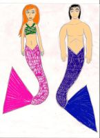 Gwen and Kevin as Merpeople by gwevinlancittylover