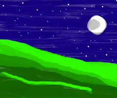 Painted Moonlit Hill by LadyIlona1984