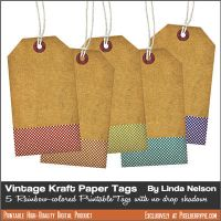 Vintage Paper Kraft Tags with Fabric Bottom by pixelberrypie