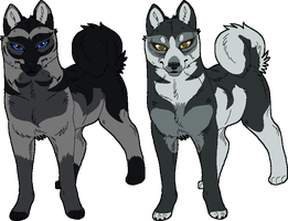 2 Unamed New Husky Characters by KasaraWolf