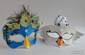Custom Peacock and Swan Princess Masks by Beadmask