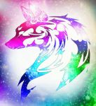Rainbow Tribal Wolf by NocturnalRavers