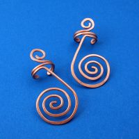 Large Spiral Copper Ear Cuffs by sylva