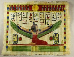Egyptian Papyrus Drawing: Winged Goddess by BeautifulEarthStudio