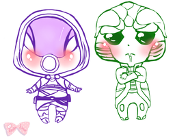 Tali and Thane Chibbs Lineart by Tsukahime