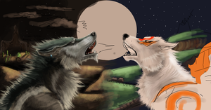 Wolf Link and Amaterasu :Wip: by Loftwing