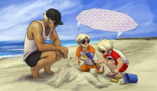 Striders at the beach by Sarapsys