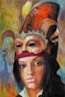 Lady with Mask by kowelvain