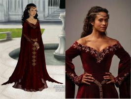 BBC's Merlin-Guinevere's Red Gown by nickelbackloverxoxox