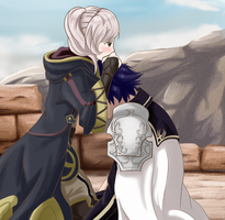 Comforting Chrom after Emmeryn's death by Tarleemon