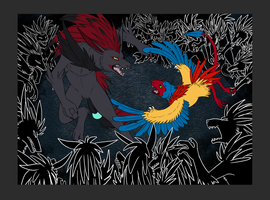 Zoroark vs Archen by Iron-Zing