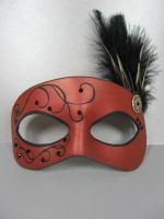 Red delicate masquerade mask by maskedzone
