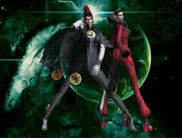Bayonetta and Jeanne fashion pose by EpitaphOfTwilightCe