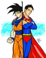 Goku vs Superman in Color by sykoeent